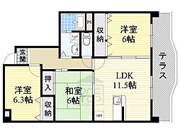 ヴェルドミール桃山台 4階3LDKの間取り
