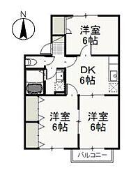 岡山県岡山市東区中川町の賃貸アパートの間取り