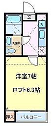 仙台市営南北線 泉中央駅 徒歩12分の賃貸アパート 2階1Kの間取り