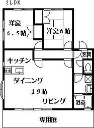ハミングタウン樋井川D[202号室]の間取り