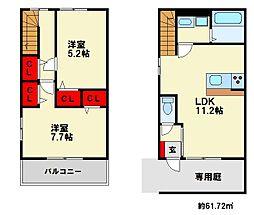 福岡県大野城市南ケ丘2丁目の賃貸アパートの間取り