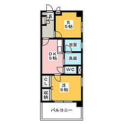 城西FUJIマンション[5階]の間取り