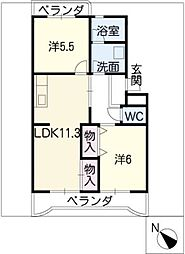 ハイドリームマンションII[4階]の間取り