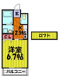 プレステージ谷塚III[205号室]の間取り