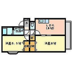 兵庫県尼崎市大島3丁目の賃貸アパートの間取り
