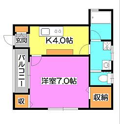 西武池袋線 清瀬駅 徒歩10分の賃貸アパート 1階1Kの間取り