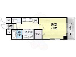 Osaka Metro谷町線 都島駅 徒歩2分の賃貸マンション 2階1Kの間取り