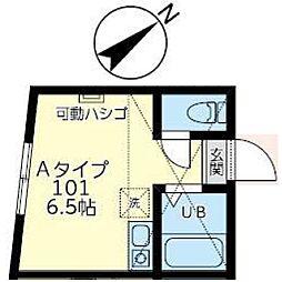 ホワイトフェザーズ桜木町 1階ワンルームの間取り
