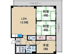 サンハート南茨木[4階]の間取り