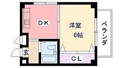 コスモ武庫川[102号室]の間取り