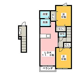 メゾン・オーブC[2階]の間取り
