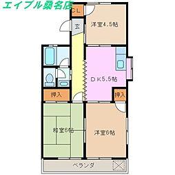 三重県桑名市高塚町5丁目の賃貸アパートの間取り