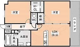K-TERACCE学研奈良登美ヶ丘 2階2DKの間取り