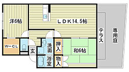 ロイヤルグレース花田A・B・C棟[1階]の間取り