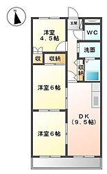 広島県福山市新涯町1の賃貸マンションの間取り