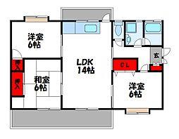 岸野荘[2階]の間取り