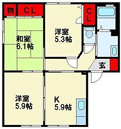 三洋タウン本城 B棟[201号室]の間取り