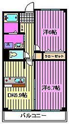 埼玉県さいたま市見沼区深作2丁目の賃貸マンションの間取り