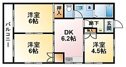 千葉県茂原市三ケ谷の賃貸アパートの間取り