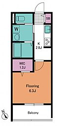 春志ハウス 3階1Kの間取り