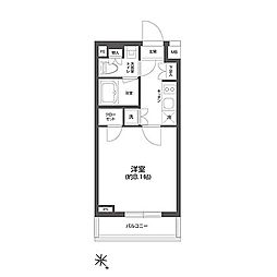 JR総武線 信濃町駅 徒歩7分の賃貸マンション 2階1Kの間取り