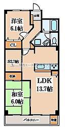 八戸ノ里グランドマンションA棟[9階]の間取り