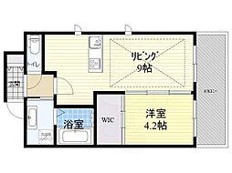 Osaka Metro御堂筋線 江坂駅 徒歩3分の賃貸マンション 9階1LDKの間取り