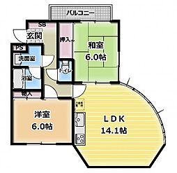 カルチェ・ダムールA棟[2階]の間取り