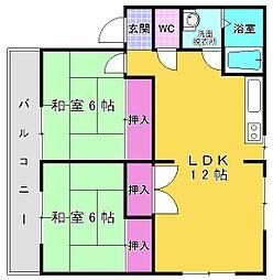 グロリアス三萩野[2階]の間取り