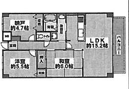 シャルマンフジ泉北深井(東深井小学校区)[2階]の間取り