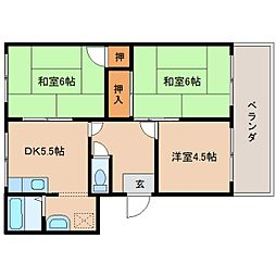 奈良県奈良市般若寺町の賃貸アパートの間取り