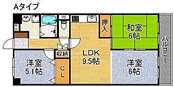 帝塚山グリーンハイツ[4階]の間取り