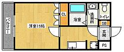 京都府京田辺市三山木柳ヶ町の賃貸アパートの間取り