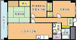 福岡県北九州市八幡西区若葉3丁目の賃貸マンションの間取り