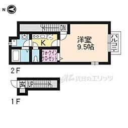 アスピリア石田 2階ワンルームの間取り