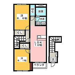 メゾンセレストB[2階]の間取り