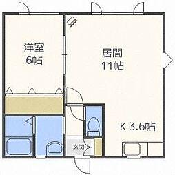 北海道札幌市中央区南五条西18丁目の賃貸アパートの間取り