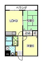 長野県飯田市羽場町1丁目の賃貸マンションの間取り