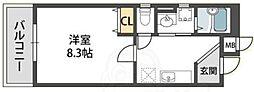 近鉄南大阪線 針中野駅 徒歩9分の賃貸アパート 3階1Kの間取り