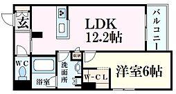 JR東海道・山陽本線 甲南山手駅 徒歩10分の賃貸マンション 3階1LDKの間取り