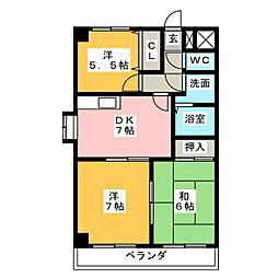 サンシティークマノ[2階]の間取り