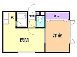 ハートアベニューII 2階1DKの間取り
