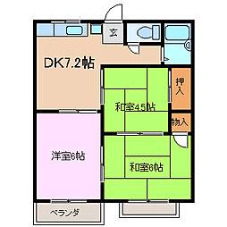 三井コーポ[2階]の間取り