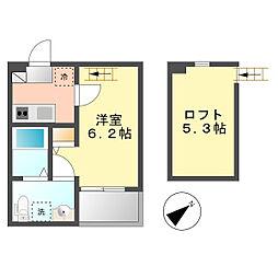 パビユウネッツ ビワジマ(pavillon honnete biwajima)[101A号室]の間取り