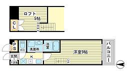 ベルフラワー山野井[208号室]の間取り