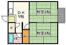 中川ハイツ[3号室]の間取り