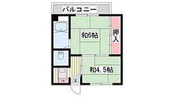 兵庫県三木市別所町朝日ケ丘の賃貸マンションの間取り