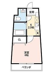 セラヴィ坂崎 6階1Kの間取り