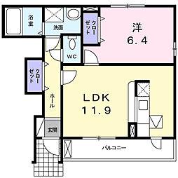 埼玉県鴻巣市上谷の賃貸アパートの間取り