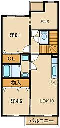 兵庫県姫路市花田町加納原田の賃貸アパートの間取り